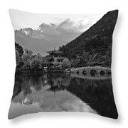 Jade Dragon Snow Mountain Throw Pillow