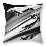 Jaguar Car Hood Ornament Black And White Throw Pillow