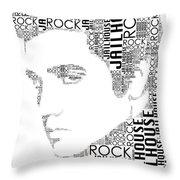 Jailhouse Rock Elvis Wordart Throw Pillow