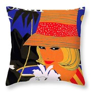 Jamaica, Woman With Orange Hat Throw Pillow