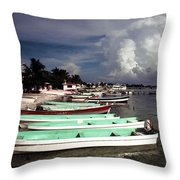 Jamaican Fishing Boats Throw Pillow