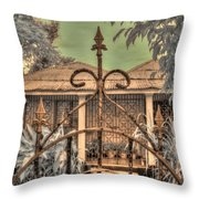 Jamaican Gate Throw Pillow by Jane Linders