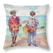 Jamaican Musician Watercolor Throw Pillow