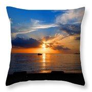 Jamaican Sunset Rays  By Steve Ellenburg Throw Pillow