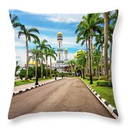 Jame'asr Hassanil Bolkiah Mosque In Brunei Throw Pillow