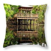 James E Grey Fishing Pier Throw Pillow