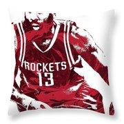 James Harden Houston Rockets Pixel Art 3 Throw Pillow