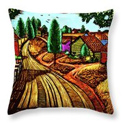 James Lesesne Wells' Farmlands Throw Pillow