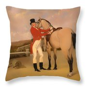 James Taylor Wray Of The Bedale Hunt With His Dun Hunter Throw Pillow