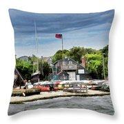 Jamestown Boat Yard Throw Pillow