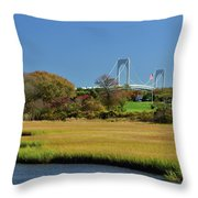Jamestown Marsh With Pell Bridge Throw Pillow