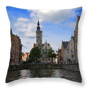 Jan Van Eyck Square With The Poortersloge From The Canal In Bruges Throw Pillow