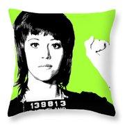 Jane Fonda Mug Shot - Lime Throw Pillow