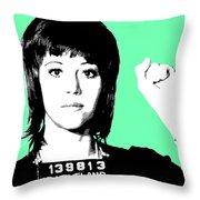 Jane Fonda Mug Shot - Mint Throw Pillow