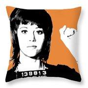 Jane Fonda Mug Shot - Orange Throw Pillow
