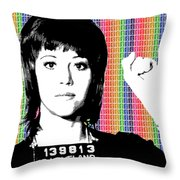 Jane Fonda Mug Shot - Rainbow Throw Pillow