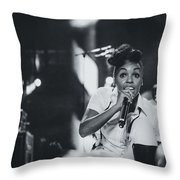 Janelle Monae Playing Live Throw Pillow
