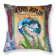 Janis Joplin In Concert Mural Throw Pillow