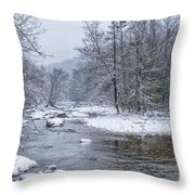 January Snow On The River Throw Pillow