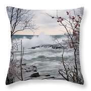 January Winds And Waves Throw Pillow