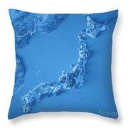 Japan 3d Render Topographic Map Blue Border Throw Pillow