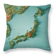 Japan 3d Render Topographic Map Border Throw Pillow