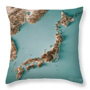Japan 3d Render Topographic Map Neutral Border Throw Pillow
