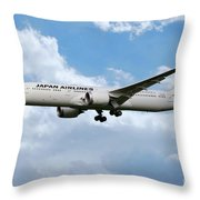 Japan Airlines Boeing 787 Dreamliner Throw Pillow