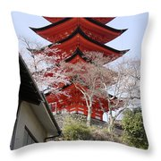 Japan Itsukushima Temple Throw Pillow