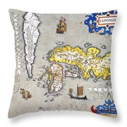 Japan: Map, 1606 Throw Pillow