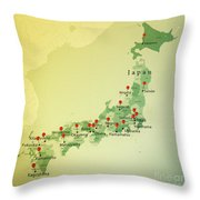 Japan Map Square Cities Straight Pin Vintage Throw Pillow