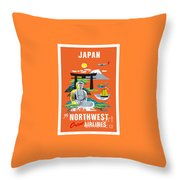 Japan Northwest Orient Airlines Throw Pillow