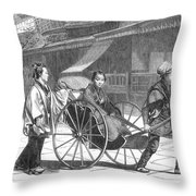 Japan: Rickshaw, 1874 Throw Pillow by Granger