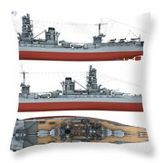 Japanese Battleship Ise Throw Pillow