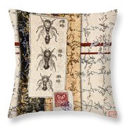 Japanese Bees Throw Pillow
