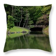 Japanese Garden Bridge Reflection Throw Pillow
