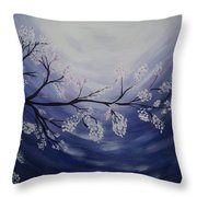 Japanese Cherry Blossom Throw Pillow