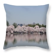 Japanese Cherry Blossom Trees Throw Pillow