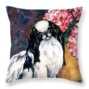 Japanese Chin And Hydrangeas Throw Pillow