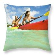 Japanese Couple Kayaking Throw Pillow