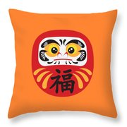 Japanese Daruma Doll Illustration Throw Pillow