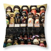 Japanese Dolls Throw Pillow