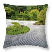 Japanese Flat Garden With Checkerboard Pattern Throw Pillow