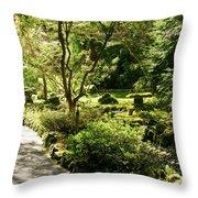Japanese Garden At Butchart Gardens In Spring Throw Pillow