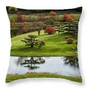 Japanese Garden Autumn Throw Pillow