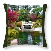 Japanese Garden Bridge And Koi Pond Throw Pillow