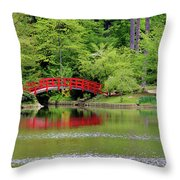 Japanese Garden Bridge  Throw Pillow
