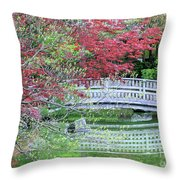 Japanese Garden Bridge In Springtime Throw Pillow