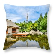 Japanese Garden In Park With Tower Throw Pillow