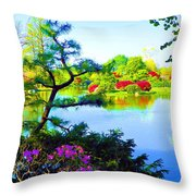 Japanese Garden In Spring Throw Pillow